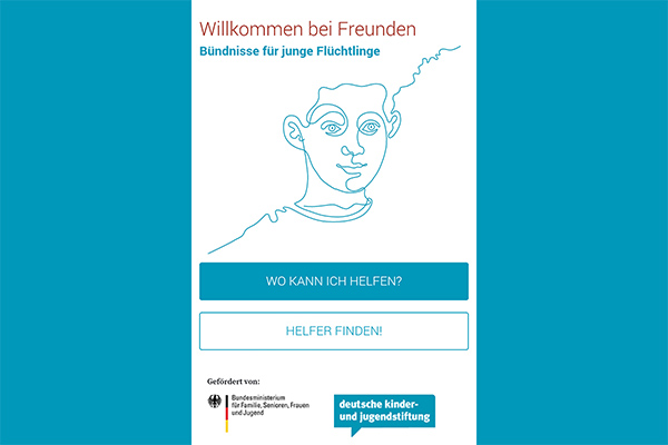 a male caricature. The title welcome to friends - associations for young refugees